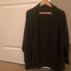 Zara drape jacket with leather sleeves